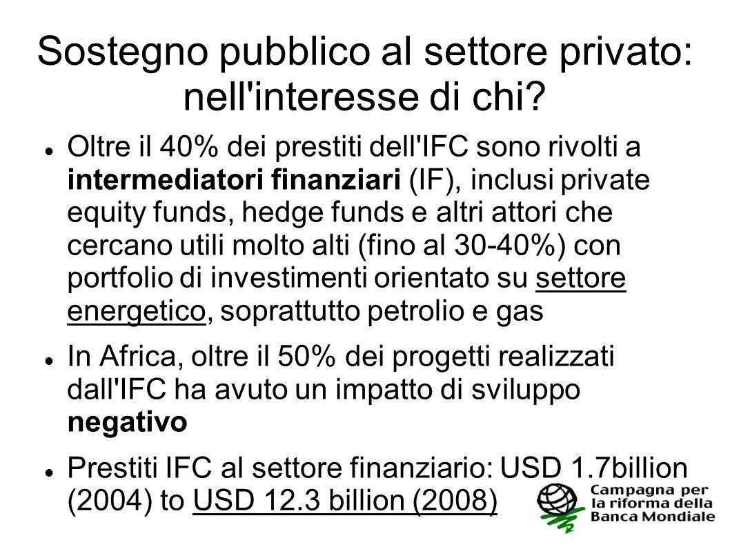 Sostegno pubblico al settore privato: nell'interesse di chi? Oltre il 40% dei prestiti dell'IFC sono rivolti a intermediatori finanziari (IF), inclusi