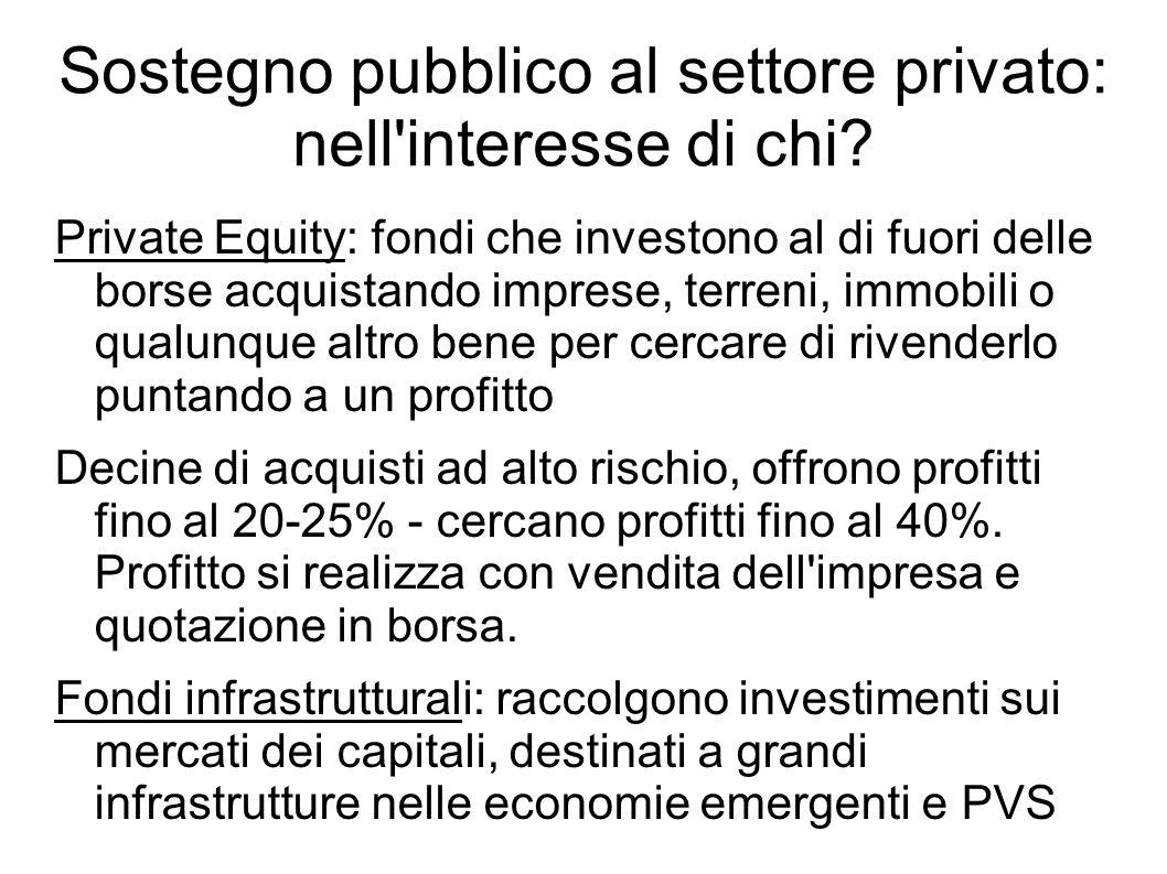 Sostegno pubblico al settore privato: nell'interesse di chi? Private Equity: fondi che investono al di fuori delle borse acquistando imprese, terreni,