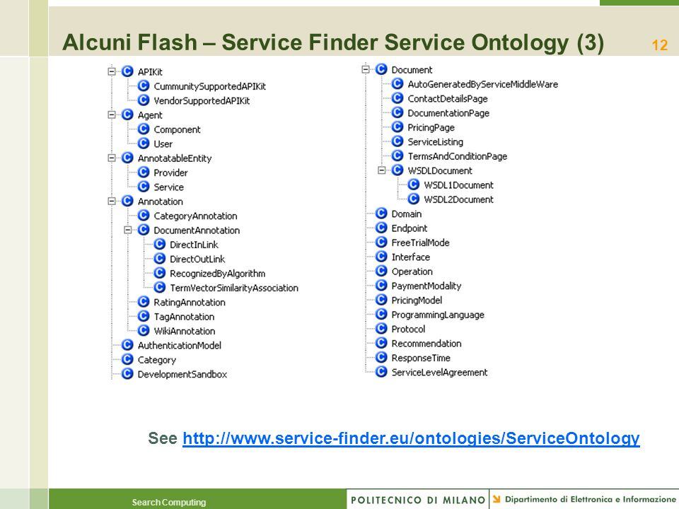 Search Computing 12 Alcuni Flash – Service Finder Service Ontology (3) See http://www.service-finder.eu/ontologies/ServiceOntology