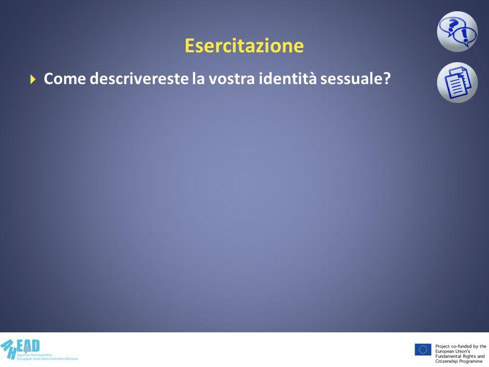 Esercitazione Come descrivereste la vostra identità sessuale?