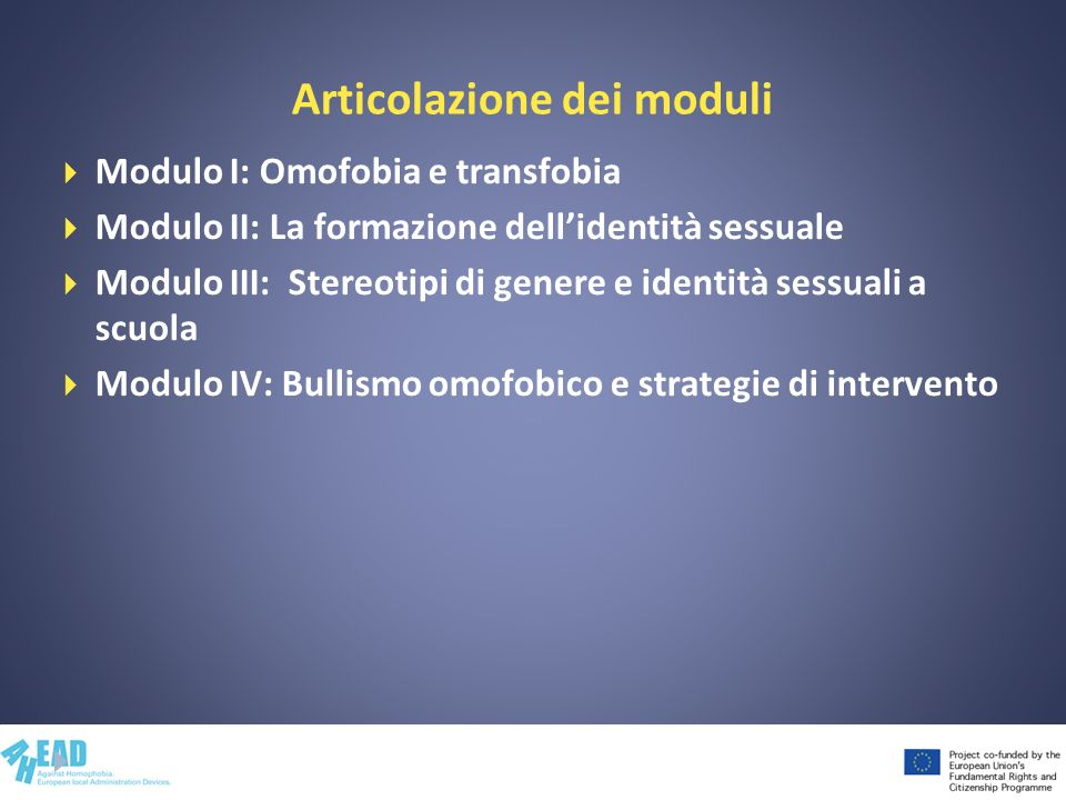 Articolazione dei moduli Modulo I: Omofobia e transfobia Modulo II: La formazione dellidentità sessuale Modulo III: Stereotipi di genere e identità se