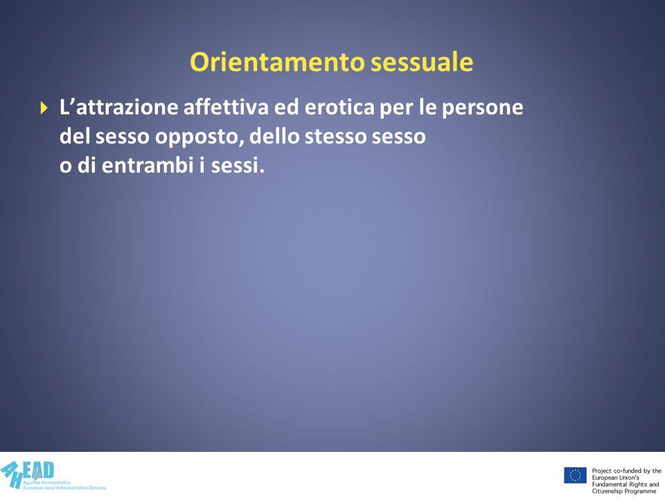 Orientamento sessuale Lattrazione affettiva ed erotica per le persone del sesso opposto, dello stesso sesso o di entrambi i sessi.