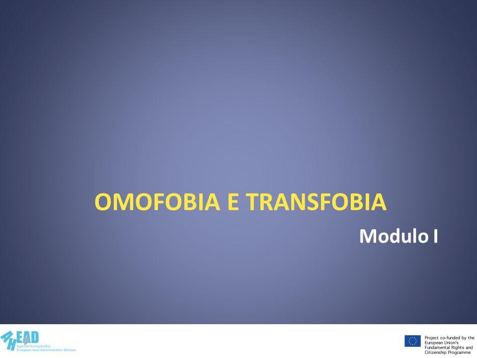 Contenuti del modulo I Omofobia e transfobia Stereotipi, pregiudizi, discriminazioni Omofobia, transfobia Rappresentazioni sociali Riduzione dellomofobia