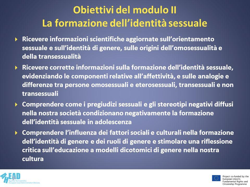Obiettivi del modulo II La formazione dellidentità sessuale Ricevere informazioni scientifiche aggiornate sullorientamento sessuale e sullidentità di