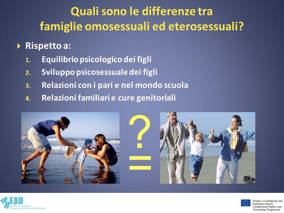 Quali sono le differenze tra famiglie omosessuali ed eterosessuali? Rispetto a: 1. Equilibrio psicologico dei figli 2. Sviluppo psicosessuale dei figl