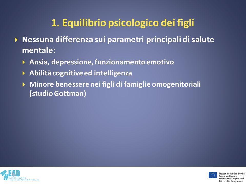 1. Equilibrio psicologico dei figli Nessuna differenza sui parametri principali di salute mentale: Ansia, depressione, funzionamento emotivo Abilità c