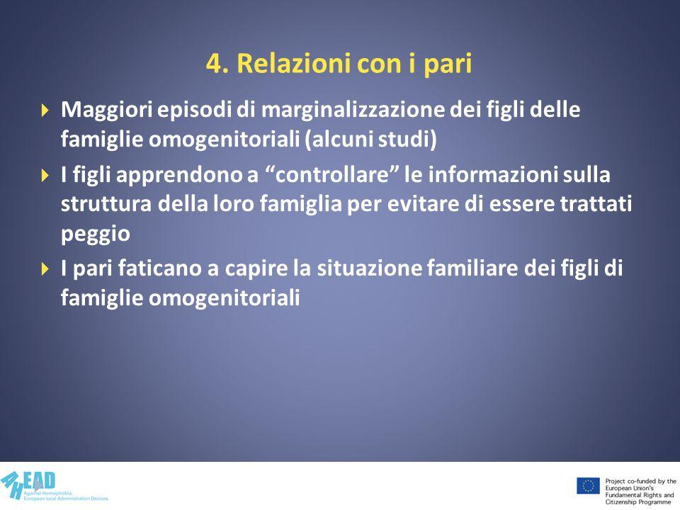 4. Relazioni con i pari Maggiori episodi di marginalizzazione dei figli delle famiglie omogenitoriali (alcuni studi) I figli apprendono a controllare