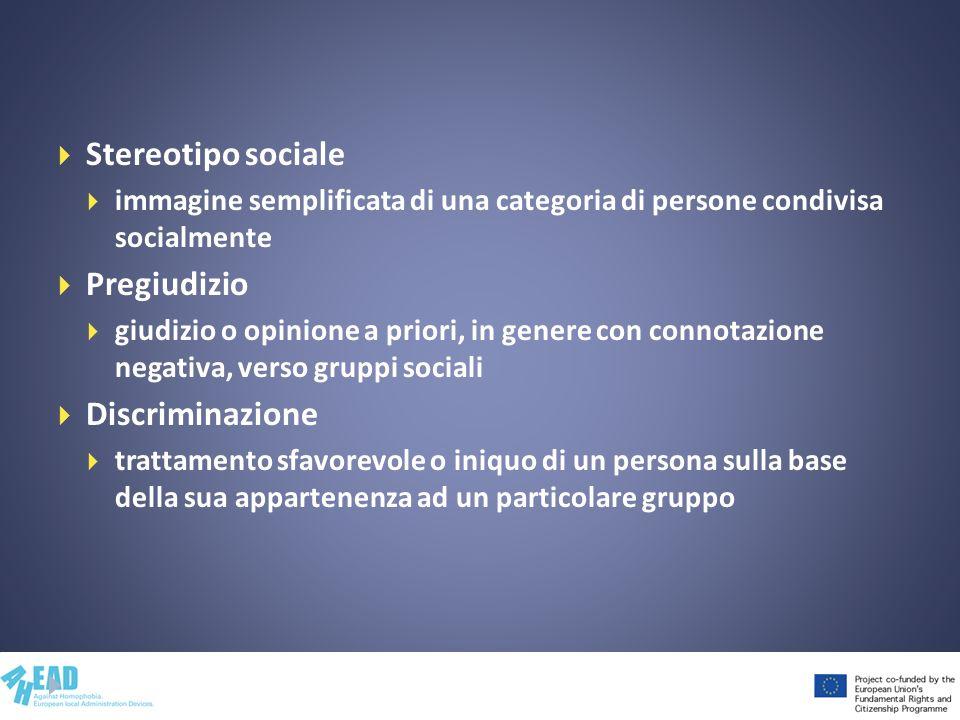 Stereotipo sociale immagine semplificata di una categoria di persone condivisa socialmente Pregiudizio giudizio o opinione a priori, in genere con con
