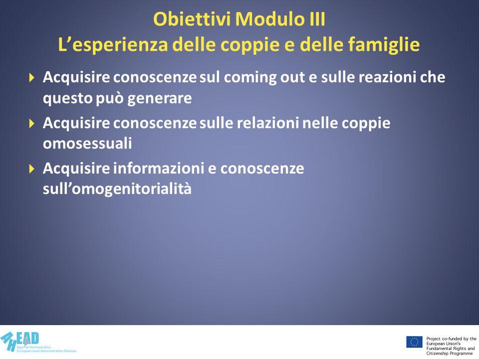 Obiettivi Modulo III Lesperienza delle coppie e delle famiglie Acquisire conoscenze sul coming out e sulle reazioni che questo può generare Acquisire