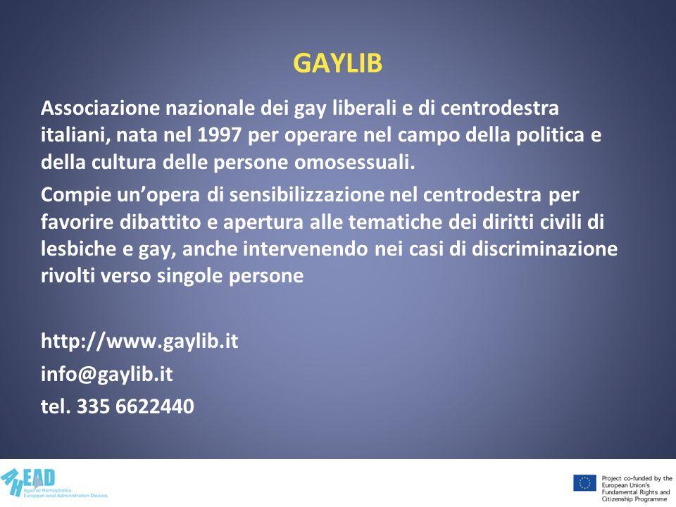 GAYLIB Associazione nazionale dei gay liberali e di centrodestra italiani, nata nel 1997 per operare nel campo della politica e della cultura delle pe
