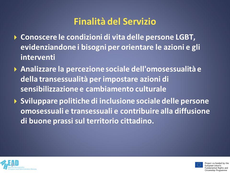 Finalità del Servizio Conoscere le condizioni di vita delle persone LGBT, evidenziandone i bisogni per orientare le azioni e gli interventi Analizzare