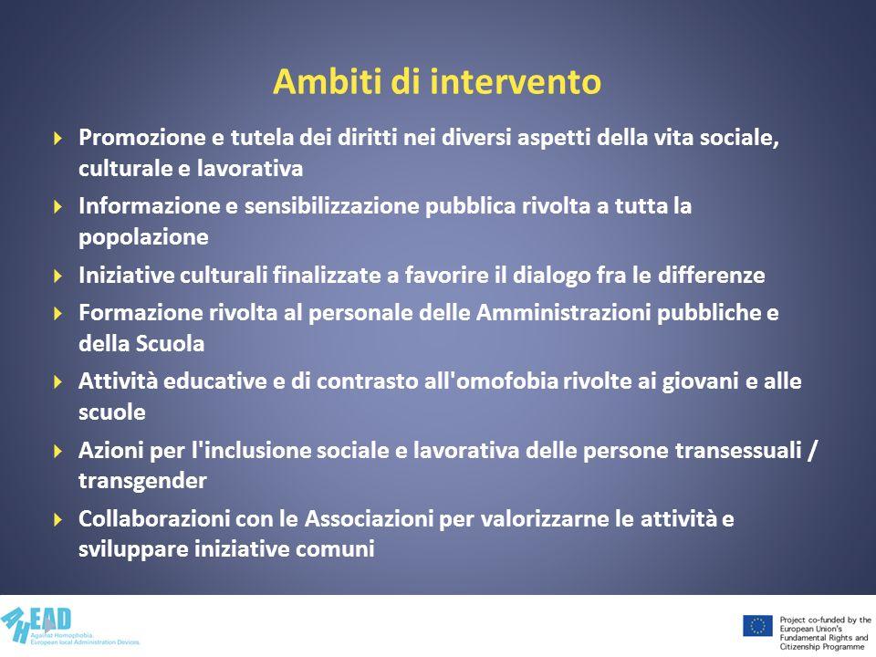 Ambiti di intervento Promozione e tutela dei diritti nei diversi aspetti della vita sociale, culturale e lavorativa Informazione e sensibilizzazione p