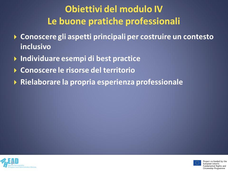 Obiettivi del modulo IV Le buone pratiche professionali Conoscere gli aspetti principali per costruire un contesto inclusivo Individuare esempi di bes