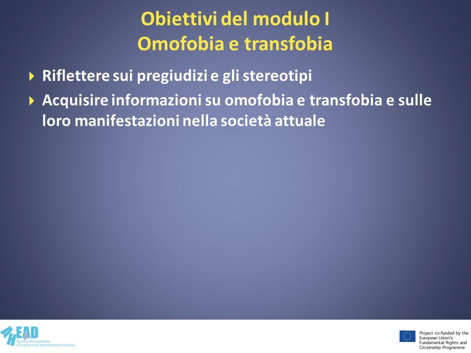 Obiettivi del modulo I Omofobia e transfobia Riflettere sui pregiudizi e gli stereotipi Acquisire informazioni su omofobia e transfobia e sulle loro m