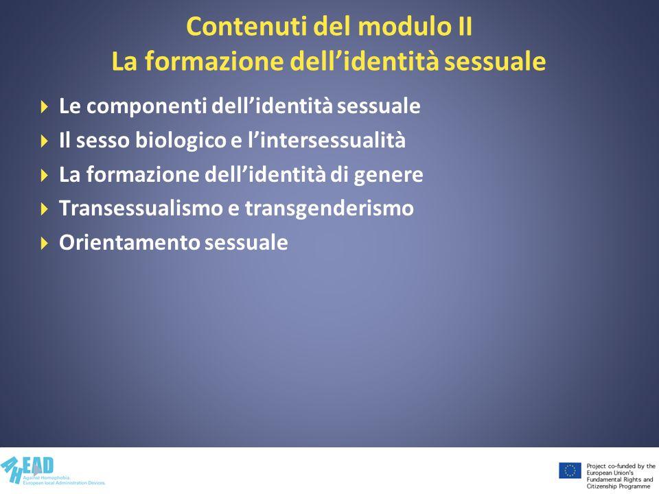 Contenuti del modulo II La formazione dellidentità sessuale Le componenti dellidentità sessuale Il sesso biologico e lintersessualità La formazione de