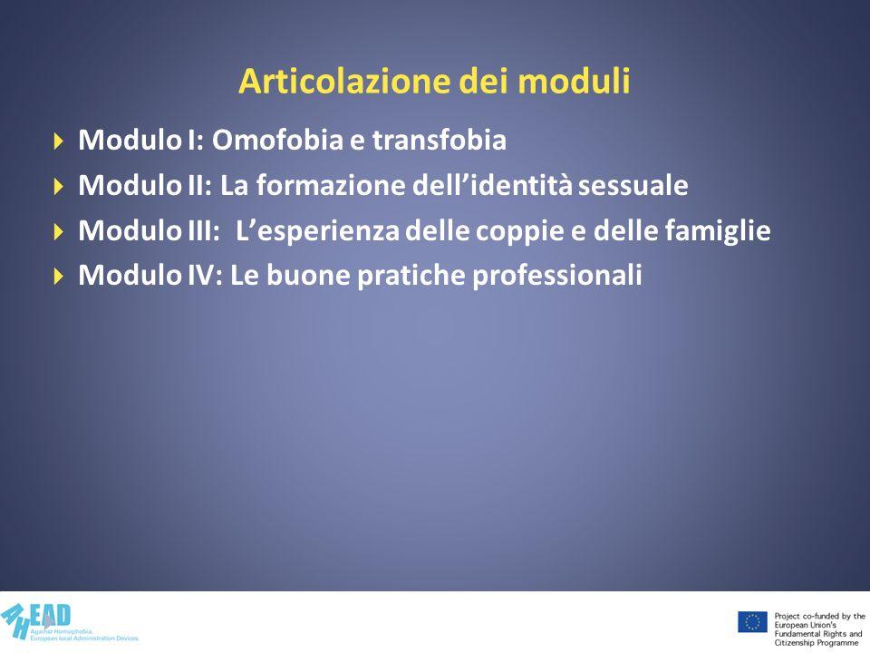 Articolazione dei moduli Modulo I: Omofobia e transfobia Modulo II: La formazione dellidentità sessuale Modulo III: Lesperienza delle coppie e delle f