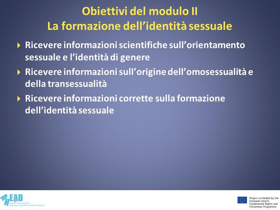 Obiettivi del modulo II La formazione dellidentità sessuale Ricevere informazioni scientifiche sullorientamento sessuale e lidentità di genere Ricever