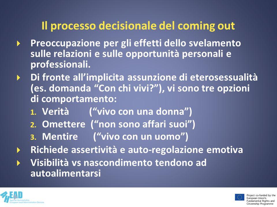 Il processo decisionale del coming out Preoccupazione per gli effetti dello svelamento sulle relazioni e sulle opportunità personali e professionali.