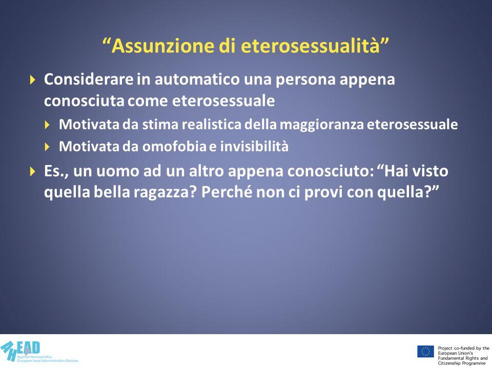 Assunzione di eterosessualità Considerare in automatico una persona appena conosciuta come eterosessuale Motivata da stima realistica della maggioranz