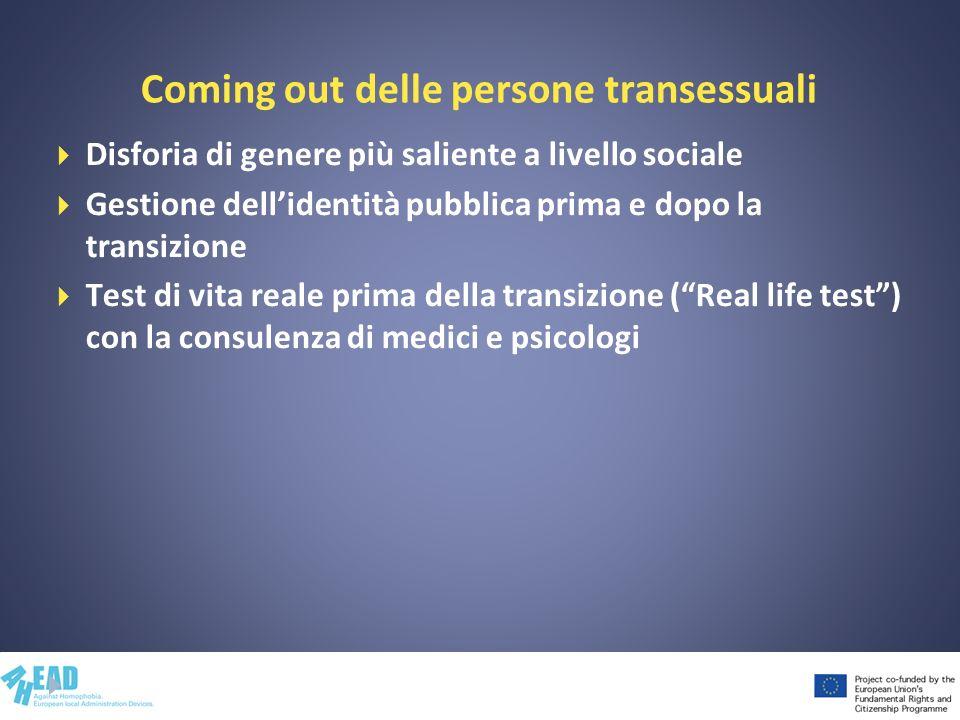 Coming out delle persone transessuali Disforia di genere più saliente a livello sociale Gestione dellidentità pubblica prima e dopo la transizione Tes