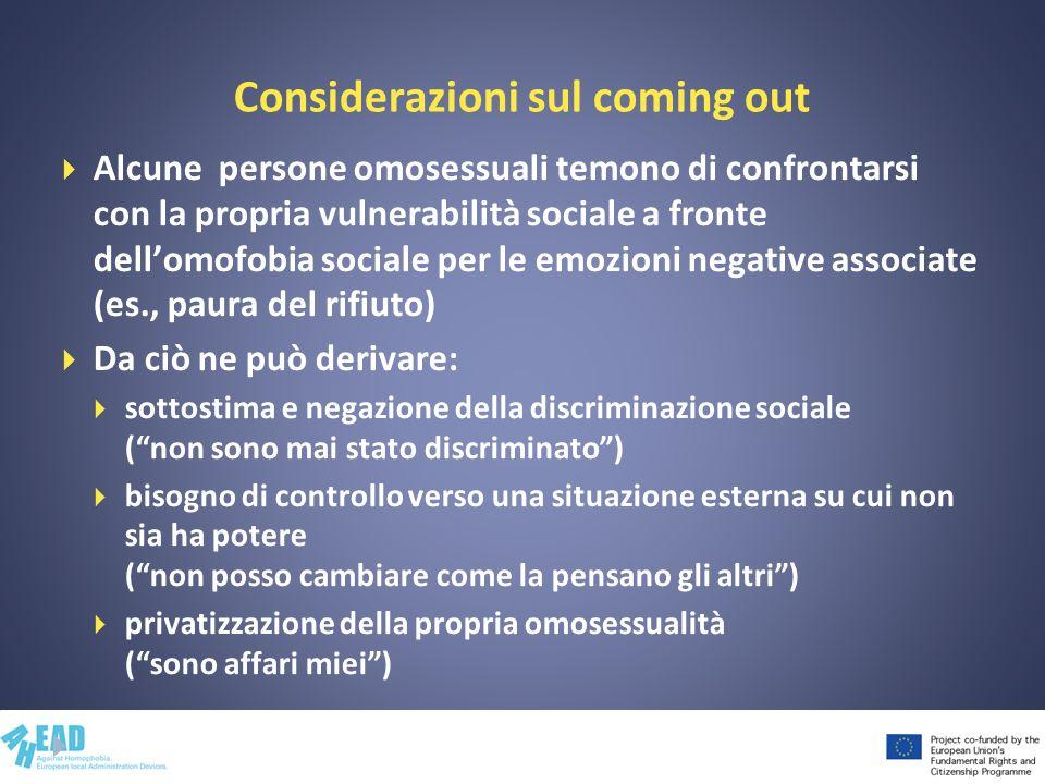 Considerazioni sul coming out Alcune persone omosessuali temono di confrontarsi con la propria vulnerabilità sociale a fronte dellomofobia sociale per