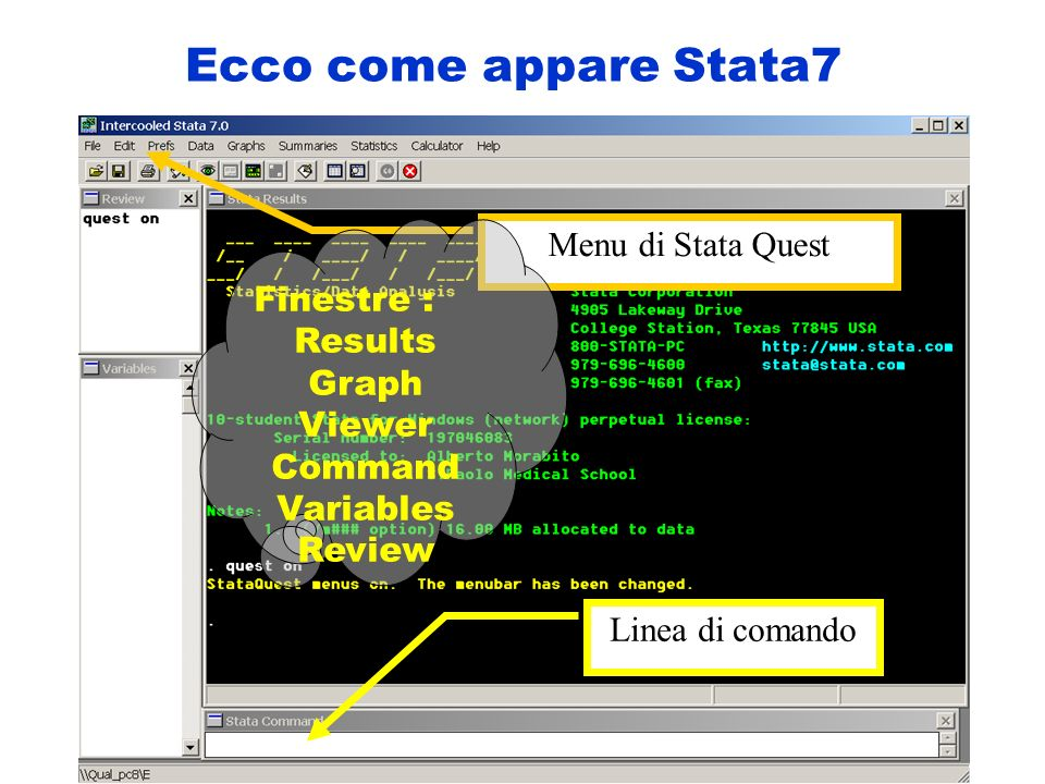 Per cominciare lanciare il programma STATA lanciare il comando in lettere minuscole : quest on : File (sul MENU) : Open (sul MENU) muoversi nella libreria D:\SQData scegliere un file dati : esempio STATES3 oppure STATES2
