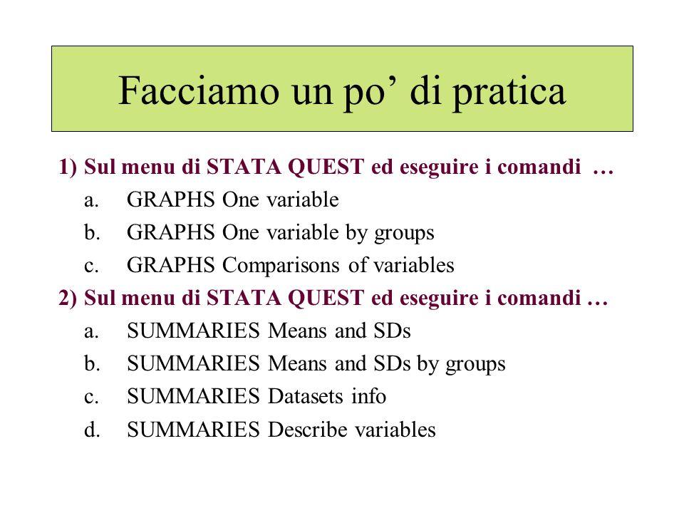 Facciamo un po di pratica 1)Sul menu di STATA QUEST ed eseguire i comandi … a.GRAPHS One variable b.GRAPHS One variable by groups c.GRAPHS Comparisons