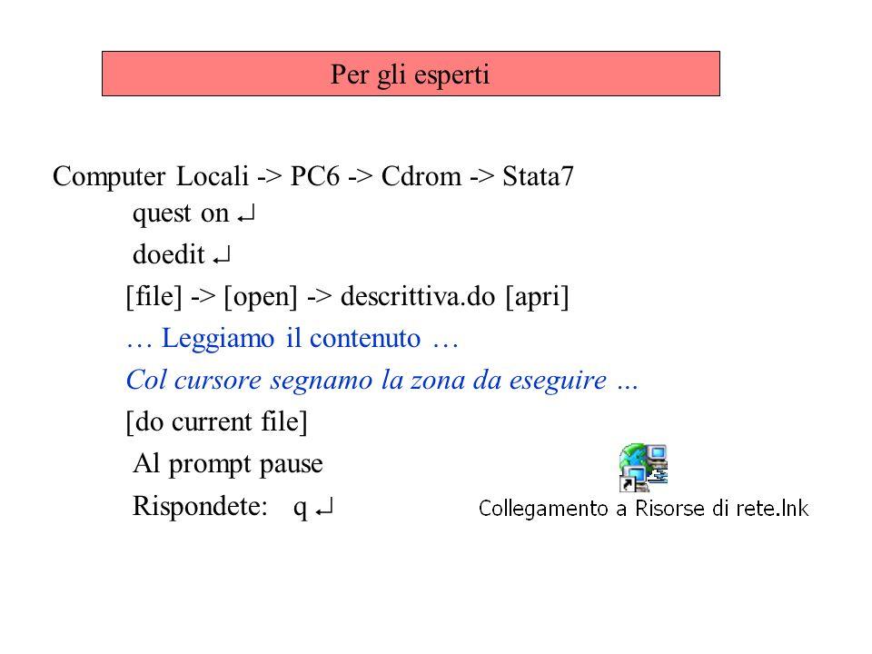 quest on doedit [file] -> [open] -> descrittiva.do [apri] … Leggiamo il contenuto … Col cursore segnamo la zona da eseguire … [do current file] Al pro
