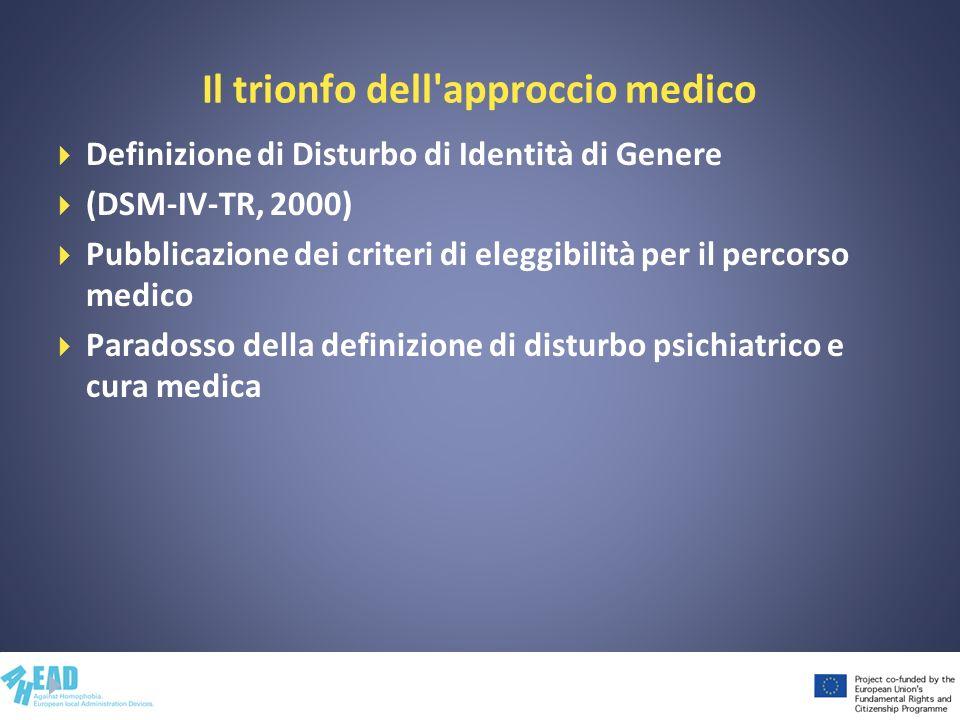 Il trionfo dell'approccio medico Definizione di Disturbo di Identità di Genere (DSM-IV-TR, 2000) Pubblicazione dei criteri di eleggibilità per il perc