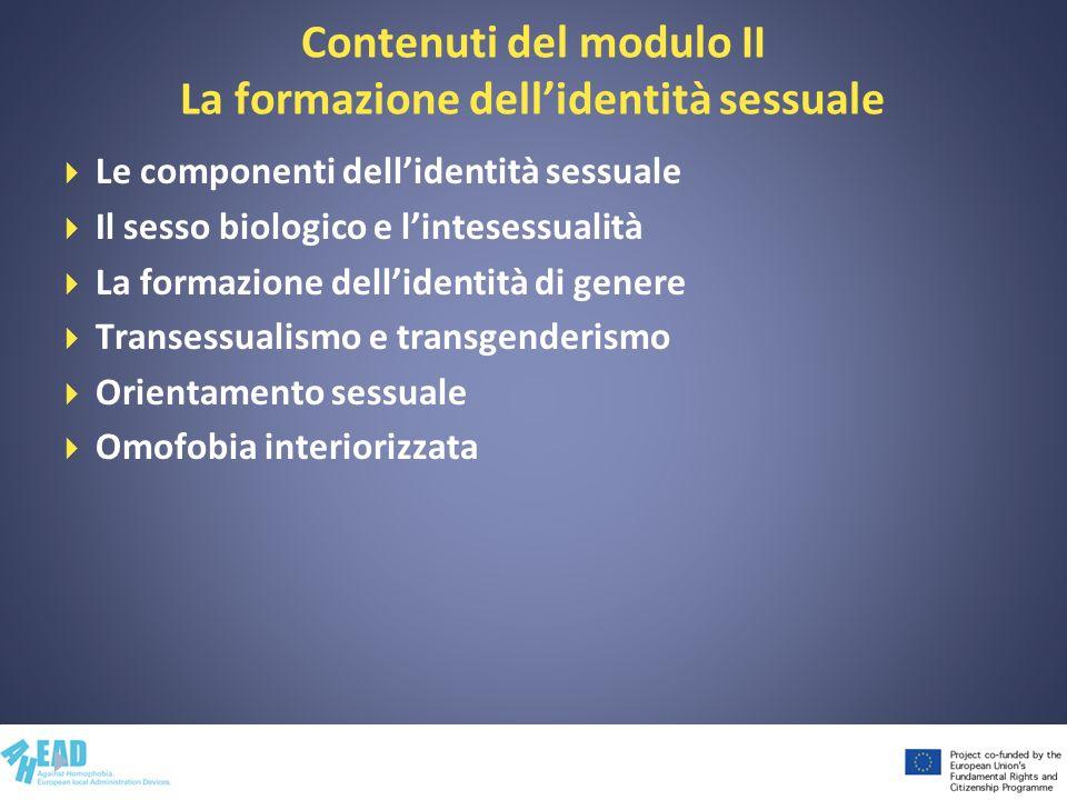 Contenuti del modulo II La formazione dellidentità sessuale Le componenti dellidentità sessuale Il sesso biologico e lintesessualità La formazione del