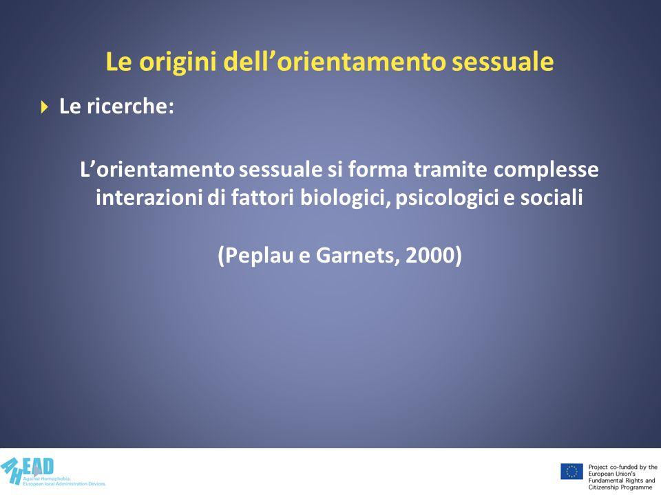Le origini dellorientamento sessuale Le ricerche: Lorientamento sessuale si forma tramite complesse interazioni di fattori biologici, psicologici e so