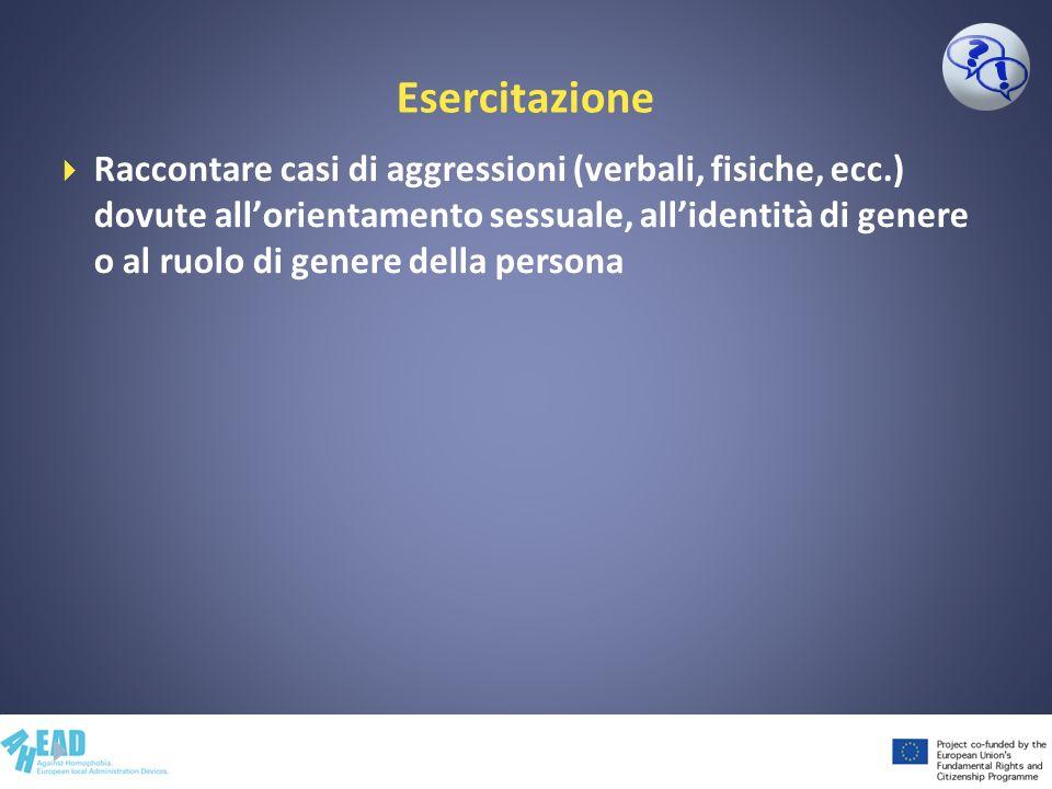Esercitazione Raccontare casi di aggressioni (verbali, fisiche, ecc.) dovute allorientamento sessuale, allidentità di genere o al ruolo di genere dell