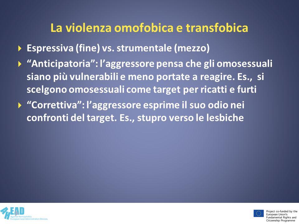 La violenza omofobica e transfobica Espressiva (fine) vs. strumentale (mezzo) Anticipatoria: laggressore pensa che gli omosessuali siano più vulnerabi