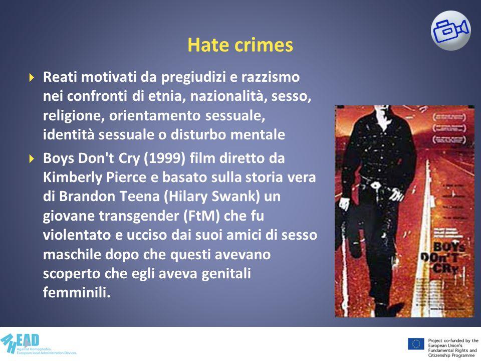 Hate crimes Reati motivati da pregiudizi e razzismo nei confronti di etnia, nazionalità, sesso, religione, orientamento sessuale, identità sessuale o