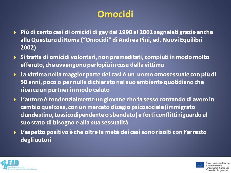 Omocidi Più di cento casi di omicidi di gay dal 1990 al 2001 segnalati grazie anche alla Questura di Roma (Omocidi di Andrea Pini, ed. Nuovi Equilibri