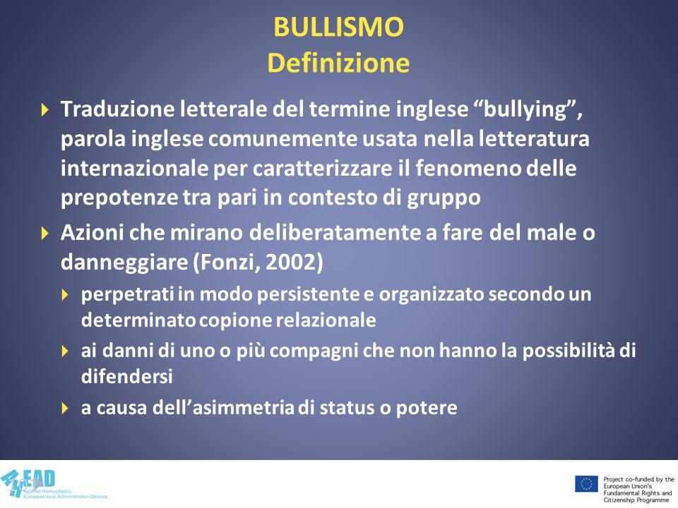 BULLISMO Definizione Traduzione letterale del termine inglese bullying, parola inglese comunemente usata nella letteratura internazionale per caratter