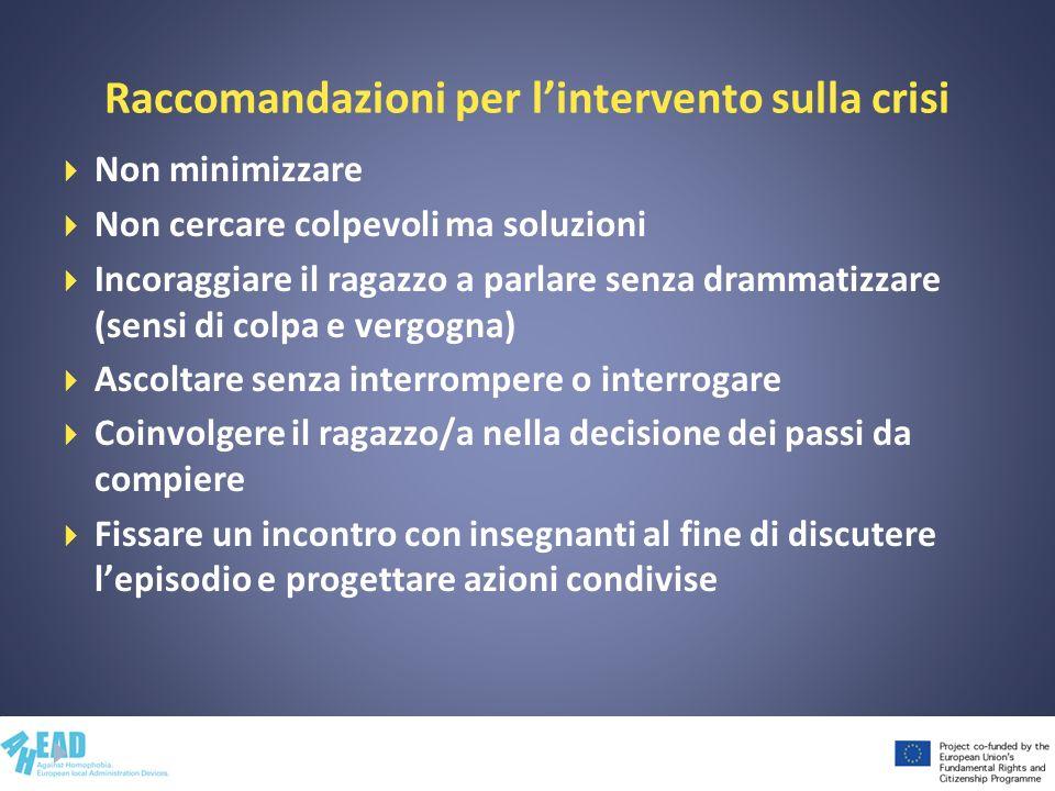 Raccomandazioni per lintervento sulla crisi Non minimizzare Non cercare colpevoli ma soluzioni Incoraggiare il ragazzo a parlare senza drammatizzare (