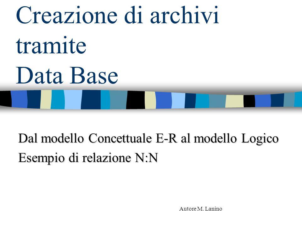 Creazione di archivi tramite Data Base Dal modello Concettuale E-R al modello Logico Esempio di relazione N:N Autore M. Lanino