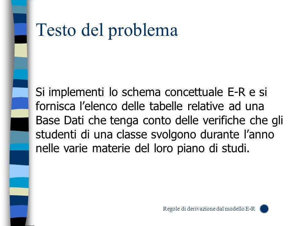 Testo del problema Si implementi lo schema concettuale E-R e si fornisca lelenco delle tabelle relative ad una Base Dati che tenga conto delle verific