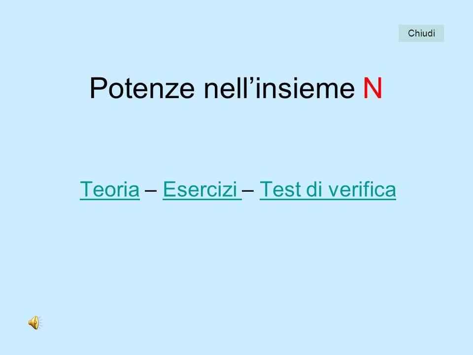 Potenze nellinsieme N TeoriaTeoria – Esercizi – Test di verificaEsercizi Test di verifica Chiudi