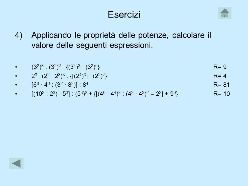 Esercizi 1)Calcola il valore delle seguenti potenze: 2 3 ; 2 4 ; 3 0 ; 4 1 ; 1 4. 2)Trova tra i seguenti numeri quelli che sono potenze di 3: 3, 6, 9,