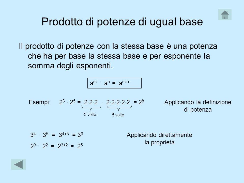 Prodotto di potenze di ugual base Il prodotto di potenze con la stessa base è una potenza che ha per base la stessa base e per esponente la somma degli esponenti.