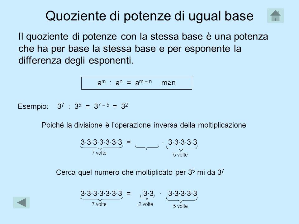 Quoziente di potenze di ugual base Il quoziente di potenze con la stessa base è una potenza che ha per base la stessa base e per esponente la differenza degli esponenti.