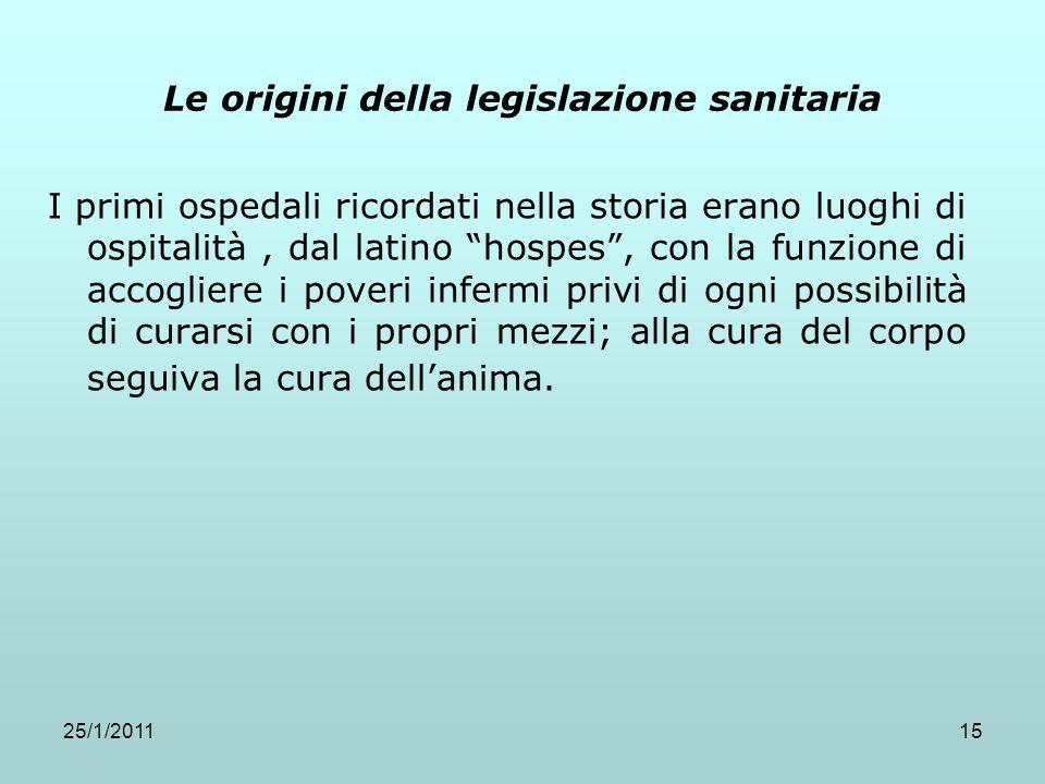 25/1/201115 Le origini della legislazione sanitaria I primi ospedali ricordati nella storia erano luoghi di ospitalità, dal latino hospes, con la funz