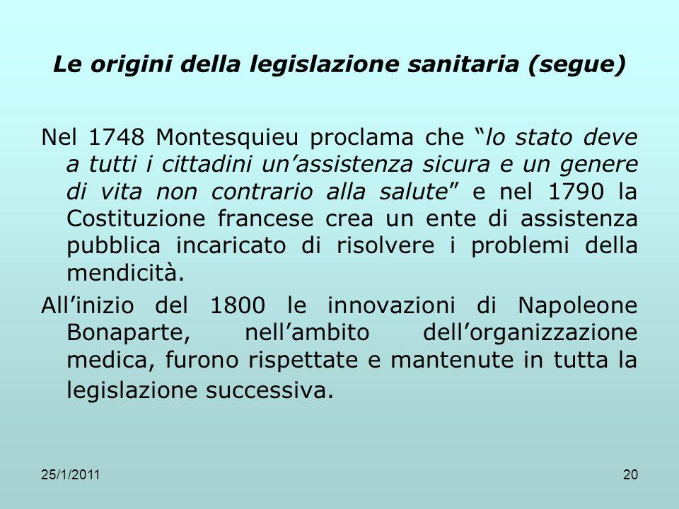 25/1/201120 Le origini della legislazione sanitaria (segue) Nel 1748 Montesquieu proclama che lo stato deve a tutti i cittadini unassistenza sicura e