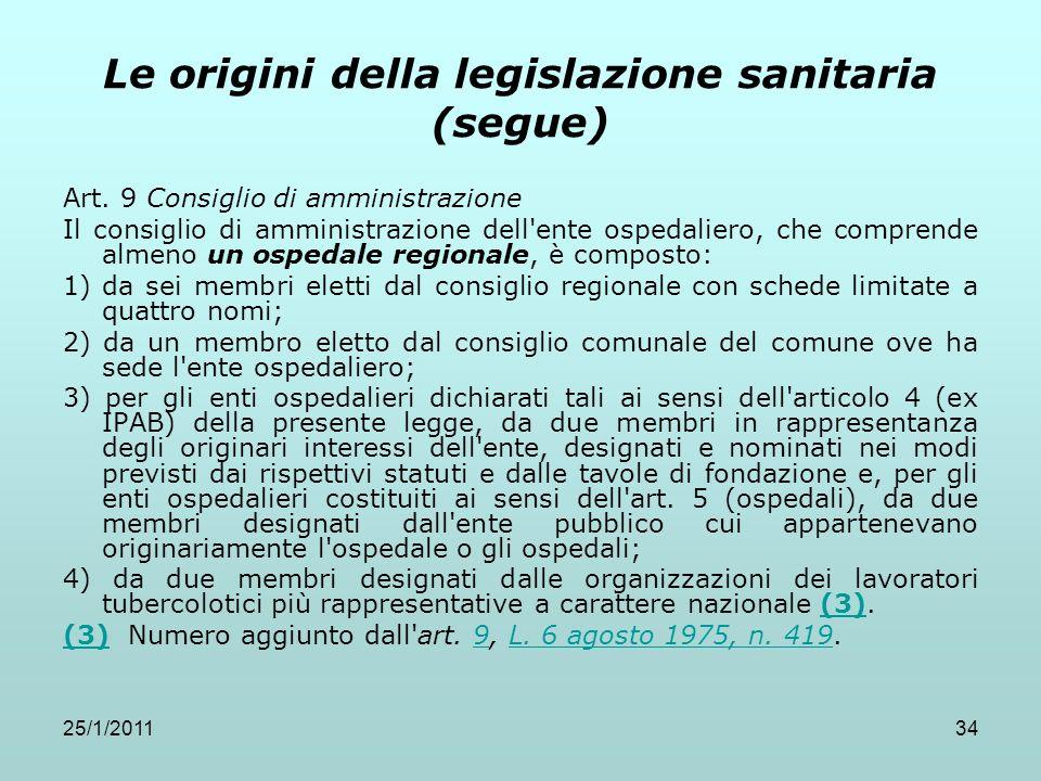 25/1/201134 Le origini della legislazione sanitaria (segue) Art. 9 Consiglio di amministrazione Il consiglio di amministrazione dell'ente ospedaliero,