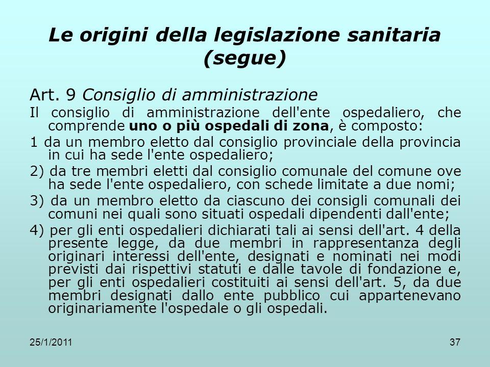 25/1/201137 Le origini della legislazione sanitaria (segue) Art. 9 Consiglio di amministrazione Il consiglio di amministrazione dell'ente ospedaliero,