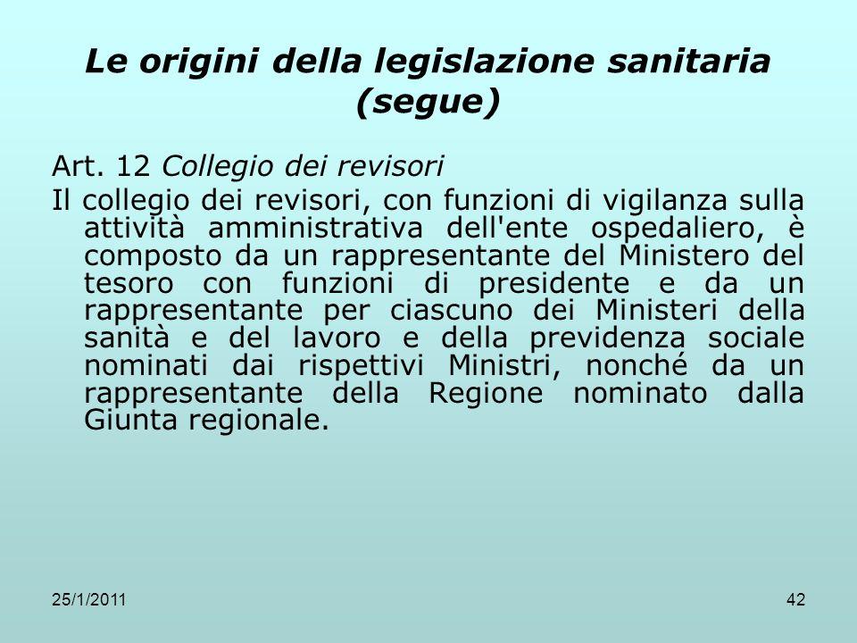 25/1/201142 Le origini della legislazione sanitaria (segue) Art. 12 Collegio dei revisori Il collegio dei revisori, con funzioni di vigilanza sulla at