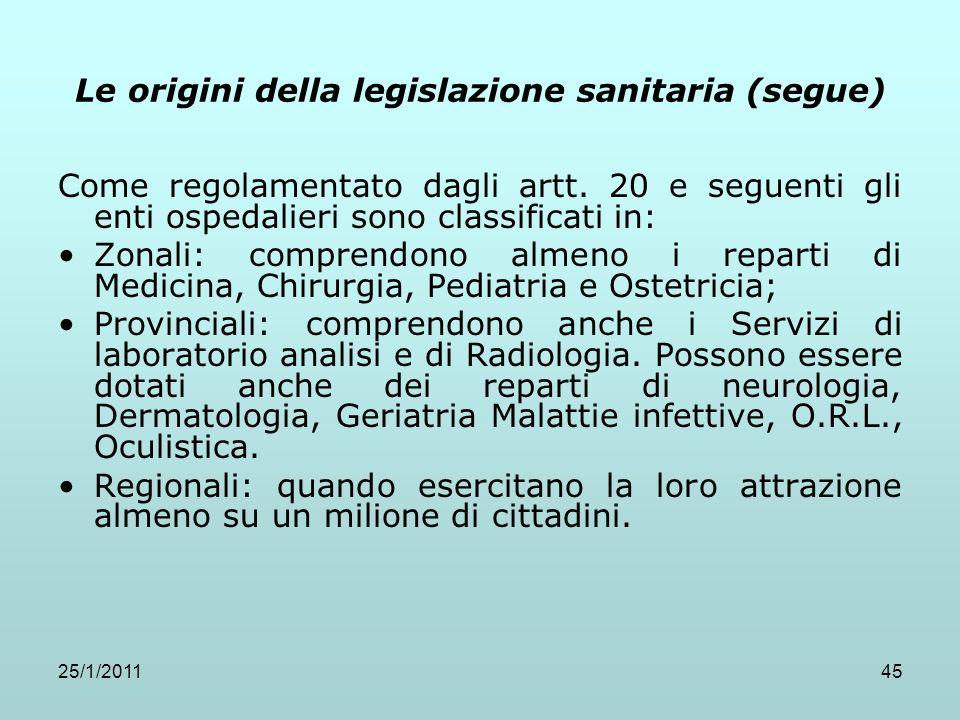 25/1/201145 Le origini della legislazione sanitaria (segue) Come regolamentato dagli artt. 20 e seguenti gli enti ospedalieri sono classificati in: Zo