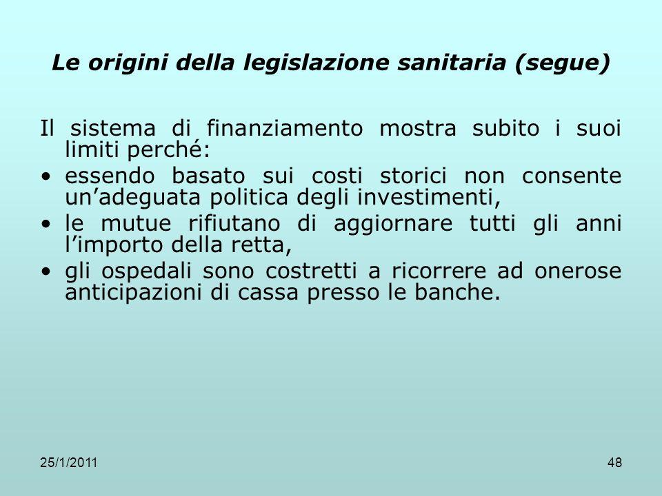 25/1/201148 Le origini della legislazione sanitaria (segue) Il sistema di finanziamento mostra subito i suoi limiti perché: essendo basato sui costi s